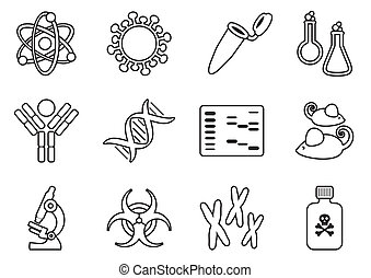 Biology science icons - Modern thin line molecular biology...