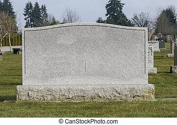 Large Blank Tombstone - Large blank tombstone in a cemetery