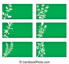 Banners With Herbs Silhouettes - Set of six bright green...