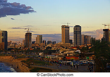 Tel Aviv, Israel. - Sight of the Tel Aviv, Israel. Twilight....