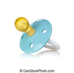 Blue baby's pacifier isolated on white background