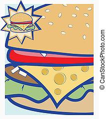 Cheeseburger - Vector cartoon illustration showing close up...