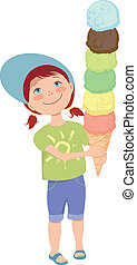 Little girl with ice cream - Cute cartoon kid holding a...