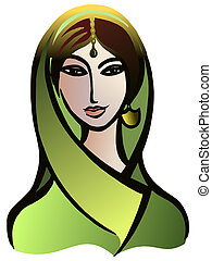 Indian woman in a sari - Vector graphic, artistic, stylized...