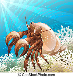 Hermit crab - Illustration with hermit crab in coral reef...