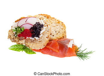 Caviar Canapes - Canapes with smoked salmon and caviar