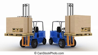 Two loaders with cargo