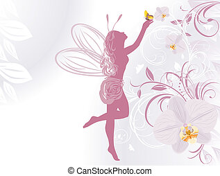 Fairy on a background with orchids - Fairy and butterfly on...