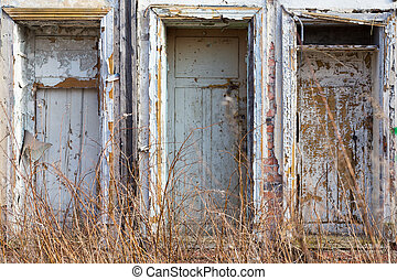 abandoned building facade - left abandoned building facade -...