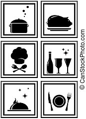 set black restaurant icons