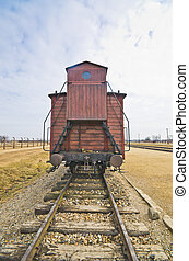 Deportation wagon at Auschwitz Birkenau at concentration...