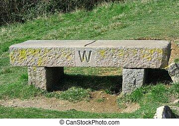 Garden Stone Bench, west