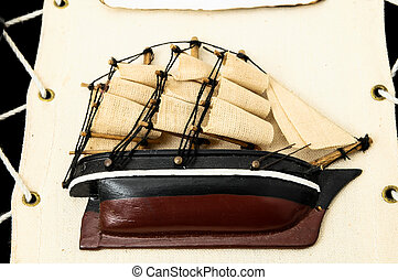 Wooden Ship Figurine - Beautiful Vintage old Wooden Pirate...