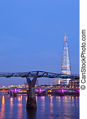 The Shard and the Millennium Bridge in London