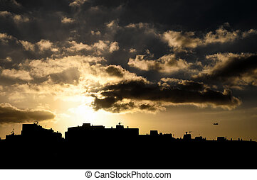 Colorful Sunset over a Town in Canarian Tenerife Island...