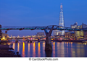 London View - A view of the River Thames with the Shard,...