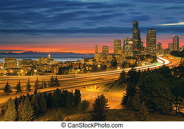 Seattle Cityscape After Sunset - Seattle Washington City...