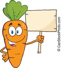 Funny Carrot Holding A Wooden Board - Funny Carrot Cartoon...