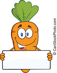 Funny Carrot Holding A Banner - Funny Carrot Cartoon...