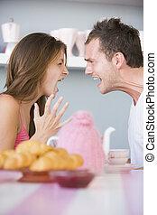 argumentar, tabela, par, jovem, pequeno almoço