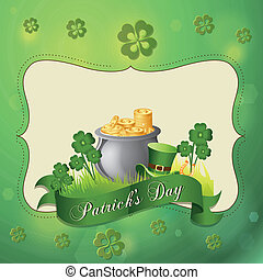 saint patrick's day - a green background with some objects...
