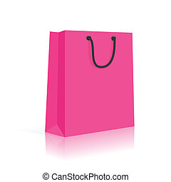 Blank Shopping Bag With Rope Handles. Pink Black. Vector