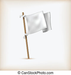 Realistic White Flag Icon Surrender Concept Banner Template...