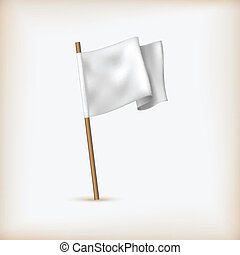 Realistic White Flag Icon. Surrender Concept. Banner...