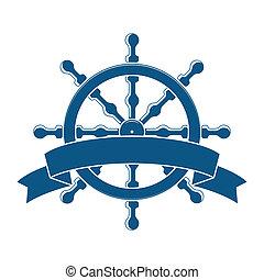 barco, rueda, con, bandera, náutico, emblema, vector