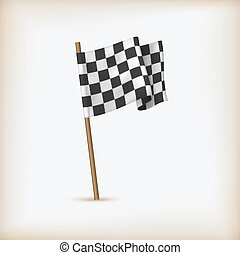 Realistic Checkered Racing Flag. Vector