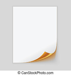 Paper Sheet With Golden Curled Corner. Vector