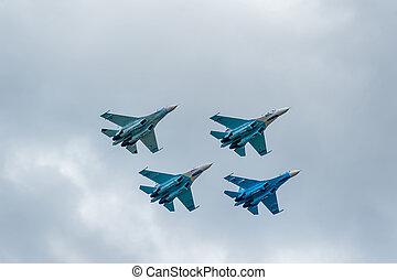 Military air fighters Su-27 - Nizhniy Tagil, Russia -...