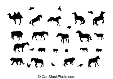 Silhouette of Wild and Domestic Animals, Bird Black and...