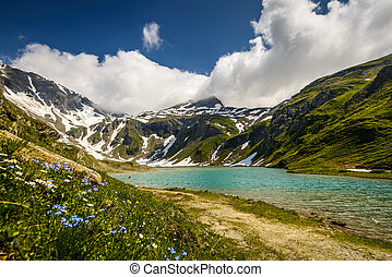 Mountains - Austrian Alps and lake , High Tauern National...