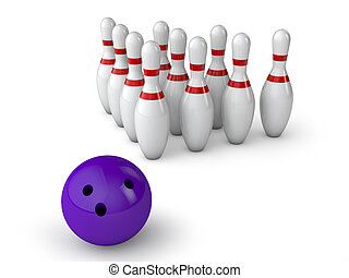 bowling alley - ten Kegel and ball on white background