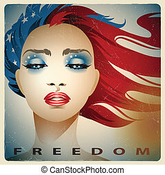 Girl with colors of USA Flag - Vintage style vector...