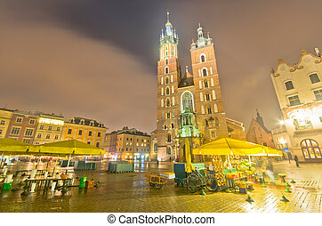 Poland, Krakow Market Square at night