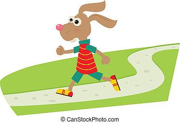 Jogging Bunny - A cartoon bunny on his daily jog. Eps10