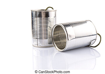 Tin Can Telephone - Tin can telephone over white background