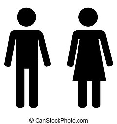 Male and female sign - Black male and female sign on white...