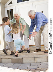 Grandparents welcoming grandchildren