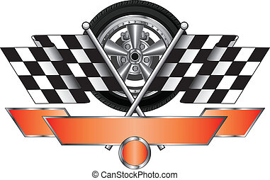 Racing Design With Wheel - Illustration of a racing design...