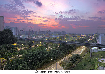 Sunset Over Punggol Housing Estate - Colorful Sunset Over...
