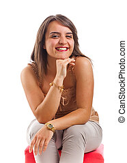 Smiling girl - Nice smiling girl isolated on white...