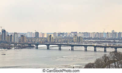 View of Metro bridge over Dnieper, Kiev, Ukraine