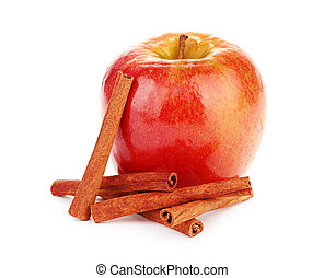Red apple and cinnamon sticks