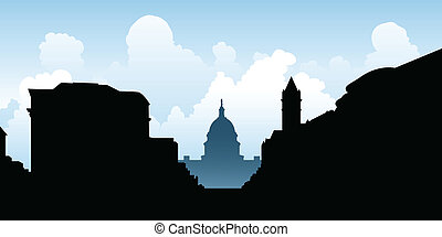 Washington D.C. - Skyline silhouette of the city of...