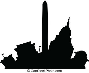 Cartoon Washington D.C. - Cartoon skyline silhouette of the...