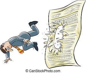 Document Stumble - A cartoon businessman stumbles and falls...