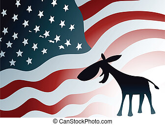 Democrat Donkey - A silhouette Democratic donkey smiles in...